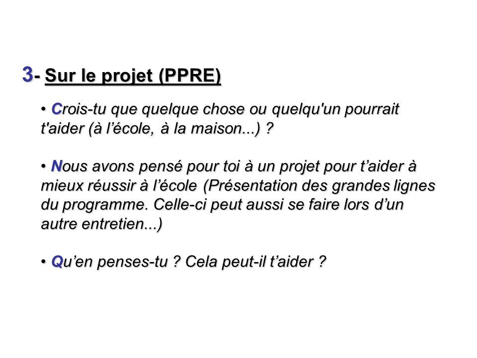 3 - Sur le projet (PPRE) Crois-tu que quelque chose ou quelqu'un pourrait t'aider (à lécole, à la maison...) ? Crois-tu que quelque chose ou quelqu'un