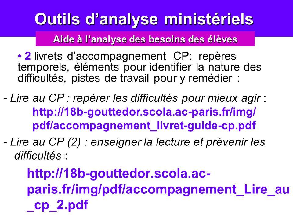 Outils danalyse ministériels Outils danalyse ministériels - Lire au CP (2) : enseigner la lecture et prévenir les difficultés : http://18b-gouttedor.s