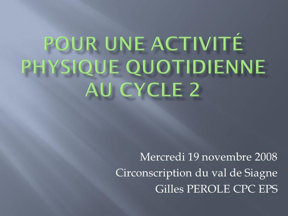 Mercredi 19 novembre 2008 Circonscription du val de Siagne Gilles PEROLE CPC EPS
