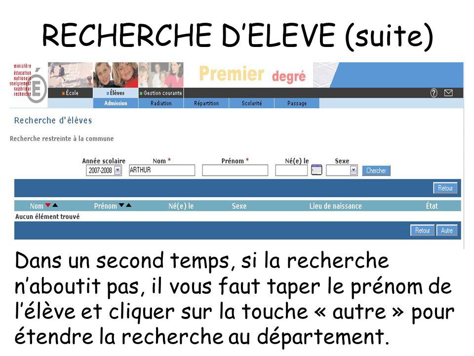 RECHERCHE DELEVE (suite) Dans un second temps, si la recherche naboutit pas, il vous faut taper le prénom de lélève et cliquer sur la touche « autre » pour étendre la recherche au département.