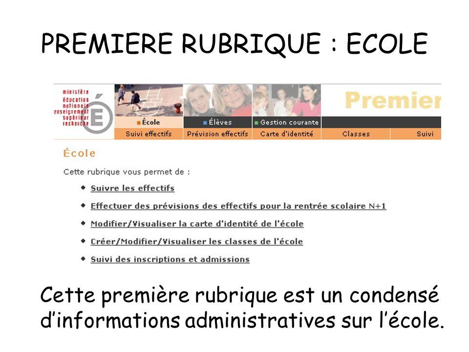PREMIERE RUBRIQUE : ECOLE Cette première rubrique est un condensé dinformations administratives sur lécole.