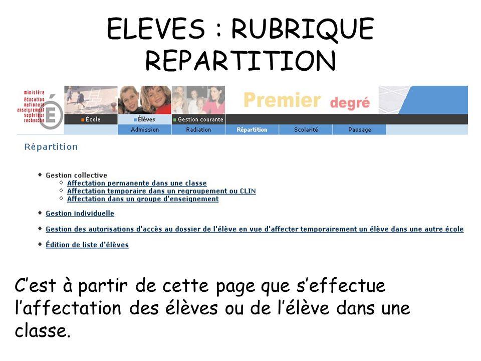 ELEVES : RUBRIQUE REPARTITION Cest à partir de cette page que seffectue laffectation des élèves ou de lélève dans une classe.