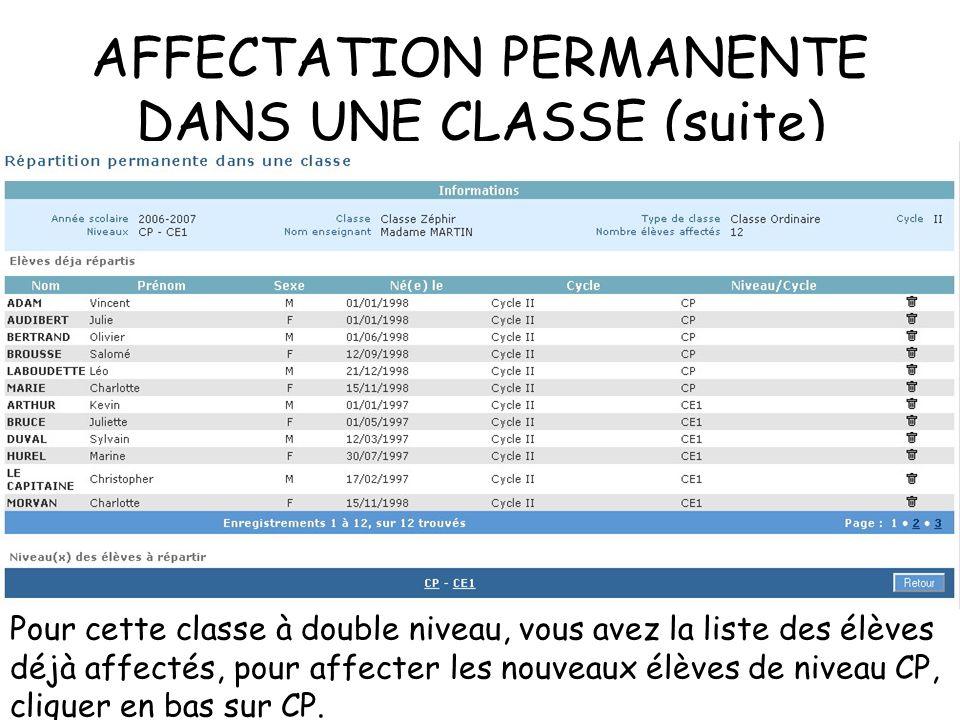 AFFECTATION PERMANENTE DANS UNE CLASSE (suite) Pour cette classe à double niveau, vous avez la liste des élèves déjà affectés, pour affecter les nouveaux élèves de niveau CP, cliquer en bas sur CP.