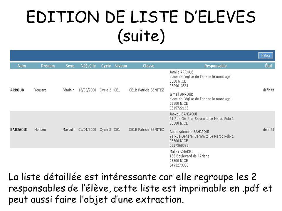 EDITION DE LISTE DELEVES (suite) La liste détaillée est intéressante car elle regroupe les 2 responsables de lélève, cette liste est imprimable en.pdf et peut aussi faire lobjet dune extraction.