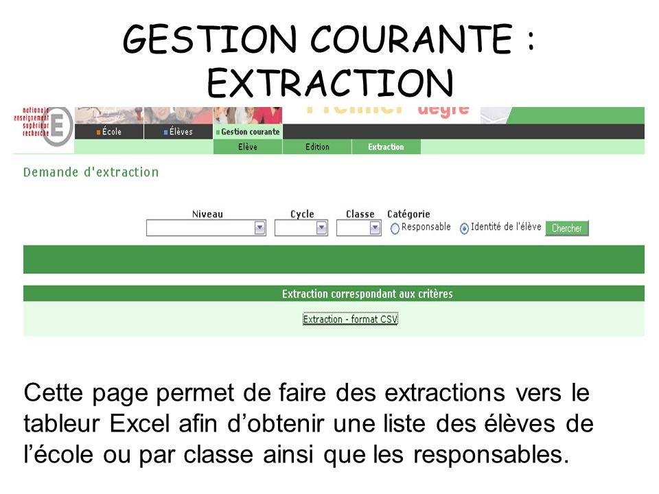 GESTION COURANTE : EXTRACTION Cette page permet de faire des extractions vers le tableur Excel afin dobtenir une liste des élèves de lécole ou par classe ainsi que les responsables.