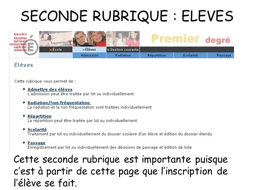 SECONDE RUBRIQUE : ELEVES Cette seconde rubrique est importante puisque cest à partir de cette page que linscription de lélève se fait.
