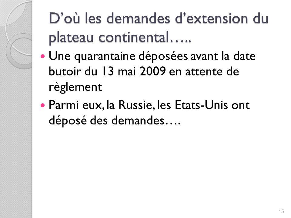 Doù les demandes dextension du plateau continental…..