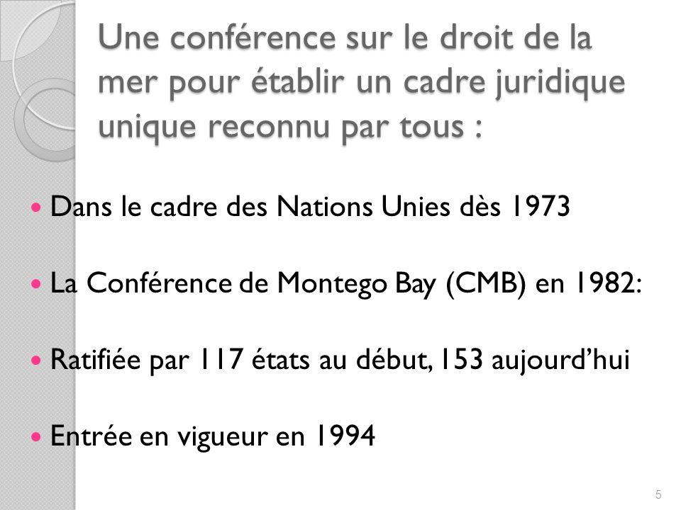 Une conférence sur le droit de la mer pour établir un cadre juridique unique reconnu par tous : Dans le cadre des Nations Unies dès 1973 La Conférence de Montego Bay (CMB) en 1982: Ratifiée par 117 états au début, 153 aujourdhui Entrée en vigueur en 1994 5