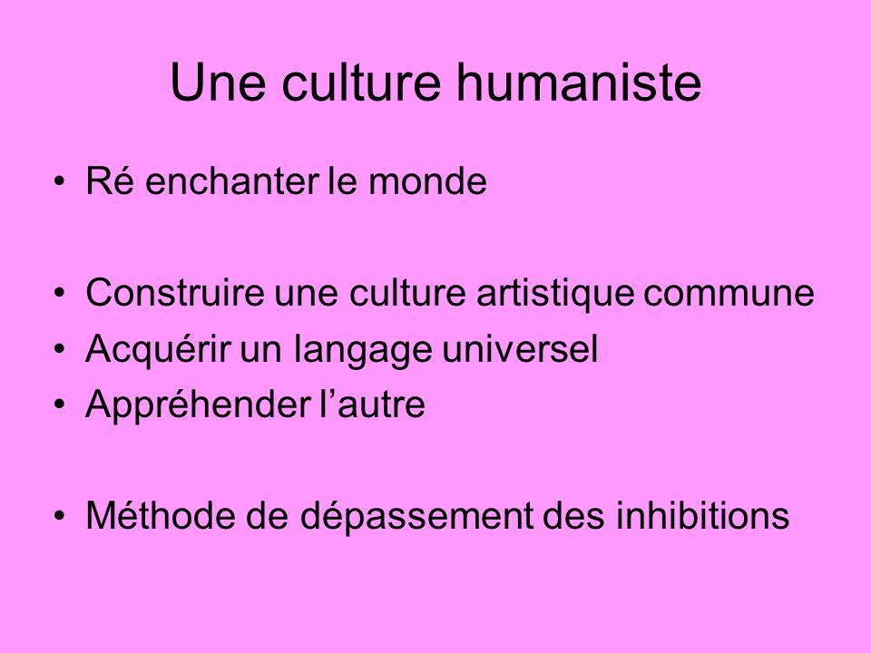 Une culture humaniste Ré enchanter le monde Construire une culture artistique commune Acquérir un langage universel Appréhender lautre Méthode de dépassement des inhibitions