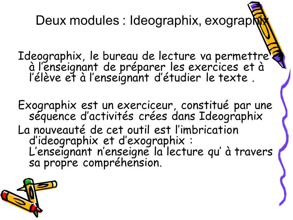 Ideographix, le bureau de lecture va permettre à lenseignant de préparer les exercices et à lélève et à lenseignant détudier le texte. Exographix est