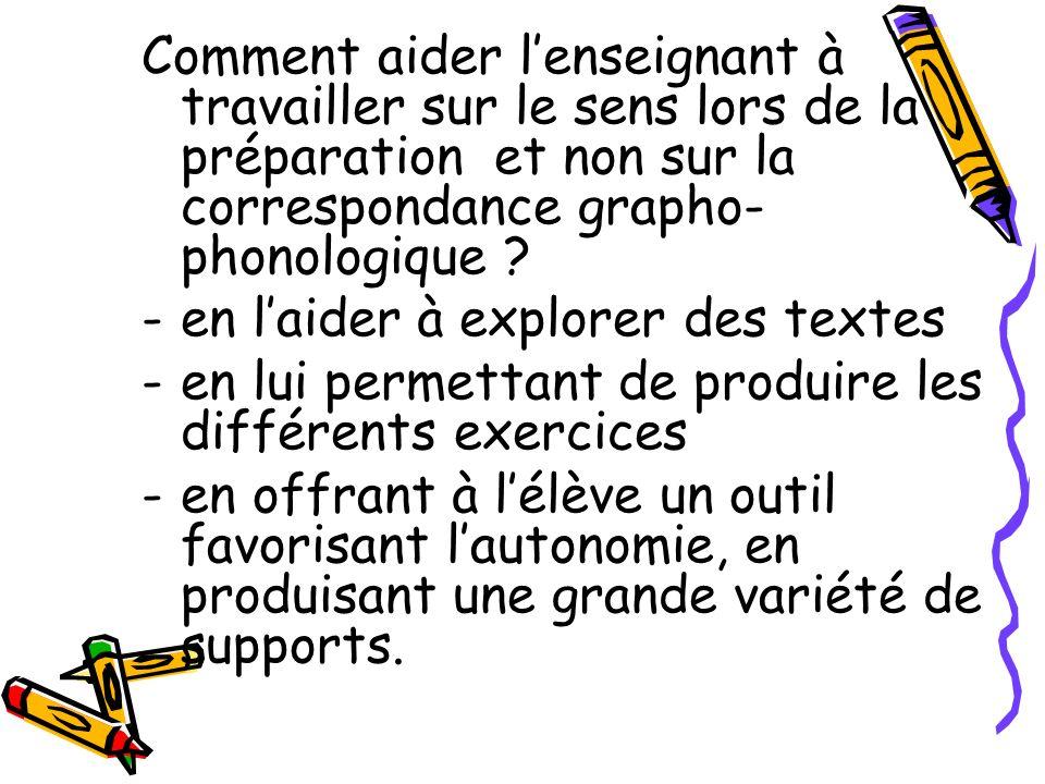 Comment aider lenseignant à travailler sur le sens lors de la préparation et non sur la correspondance grapho- phonologique ? -en laider à explorer de