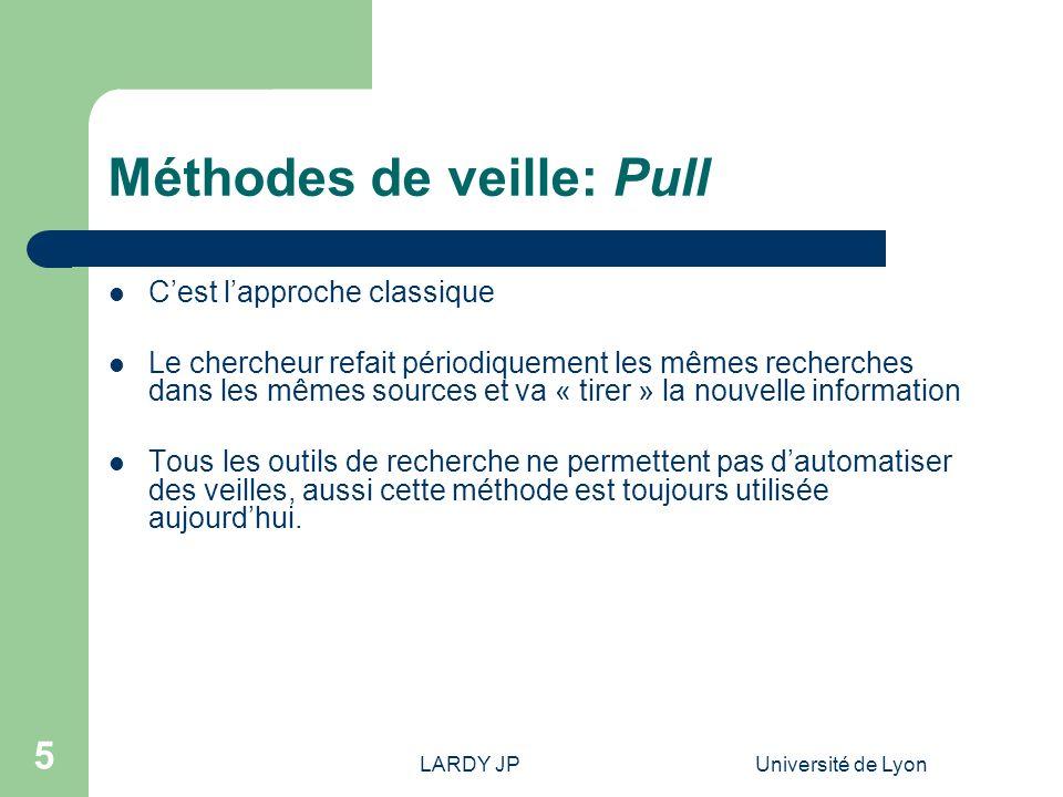 LARDY JPUniversité de Lyon 5 Méthodes de veille: Pull Cest lapproche classique Le chercheur refait périodiquement les mêmes recherches dans les mêmes