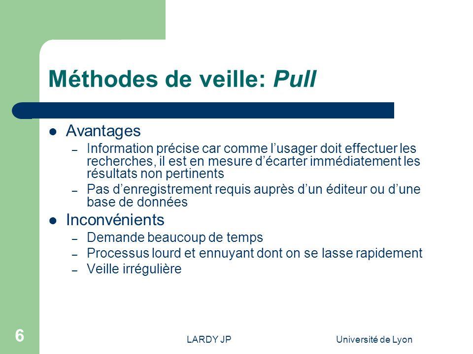 LARDY JPUniversité de Lyon 6 Méthodes de veille: Pull Avantages – Information précise car comme lusager doit effectuer les recherches, il est en mesur