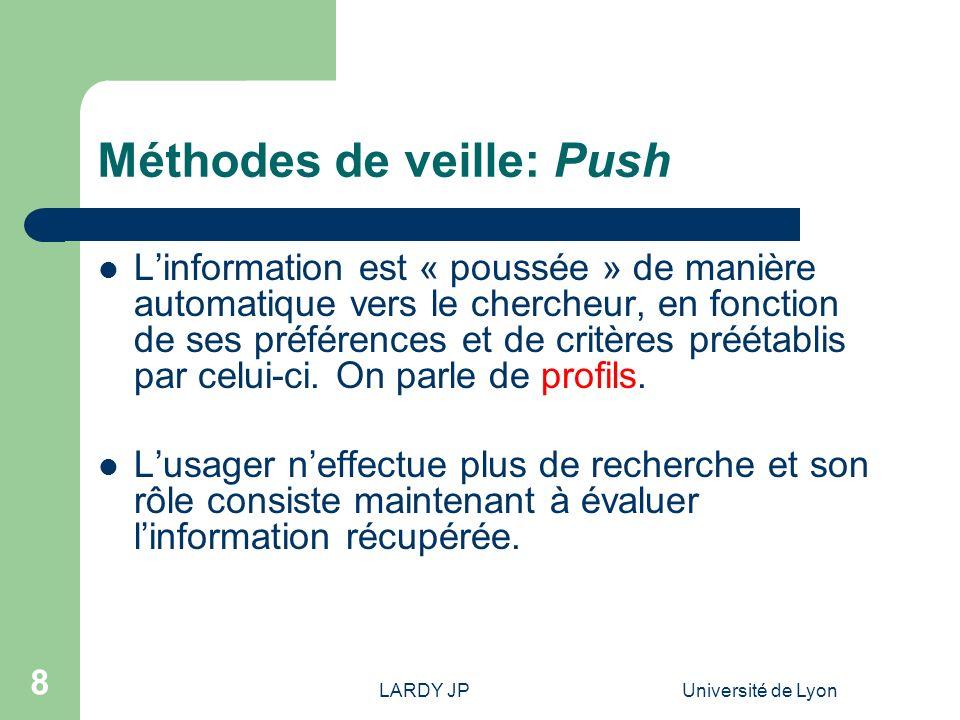 LARDY JPUniversité de Lyon 9 Méthodes de veille: Push Avantages – Économie de temps pour le chercheur – Processus automatisé (peu defforts requis de la part du chercheur une fois les alertes créées) – Signalement rapide.