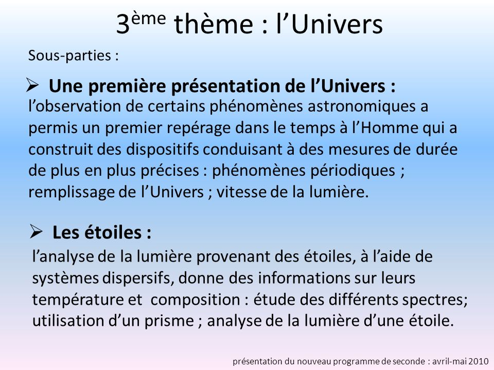 3 ème thème : lUnivers Les étoiles : lanalyse de la lumière provenant des étoiles, à laide de systèmes dispersifs, donne des informations sur leurs te
