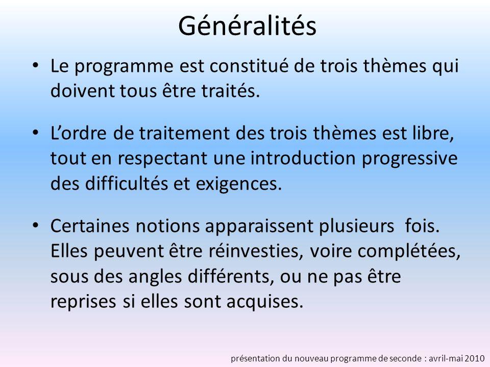 Généralités Le programme est constitué de trois thèmes qui doivent tous être traités. Lordre de traitement des trois thèmes est libre, tout en respect