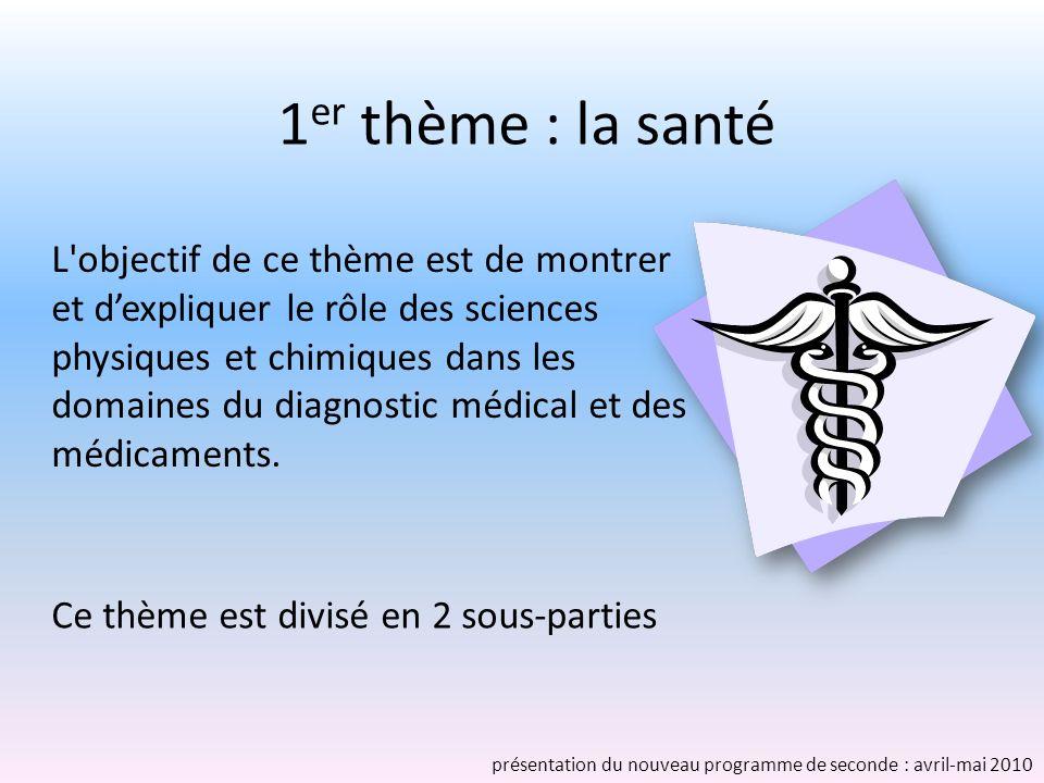 1 er thème : la santé Ce thème est divisé en 2 sous-parties L objectif de ce thème est de montrer et dexpliquer le rôle des sciences physiques et chimiques dans les domaines du diagnostic médical et des médicaments.