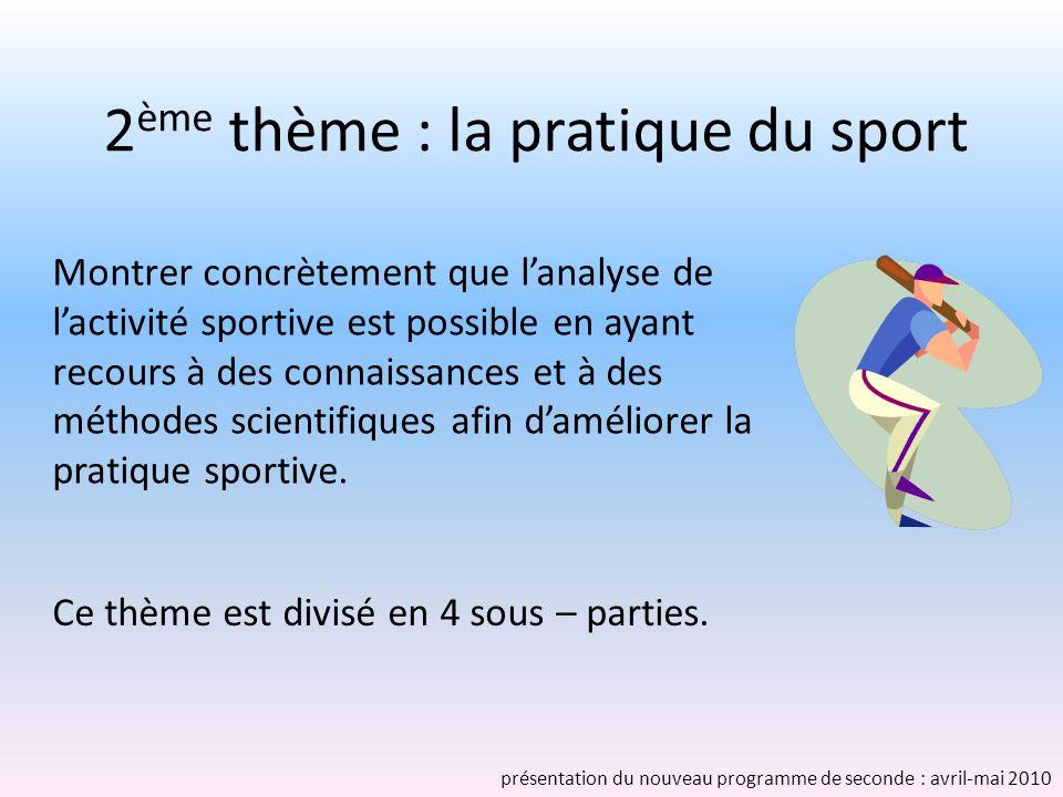 2 ème thème : la pratique du sport Ce thème est divisé en 4 sous – parties. Montrer concrètement que lanalyse de lactivité sportive est possible en ay