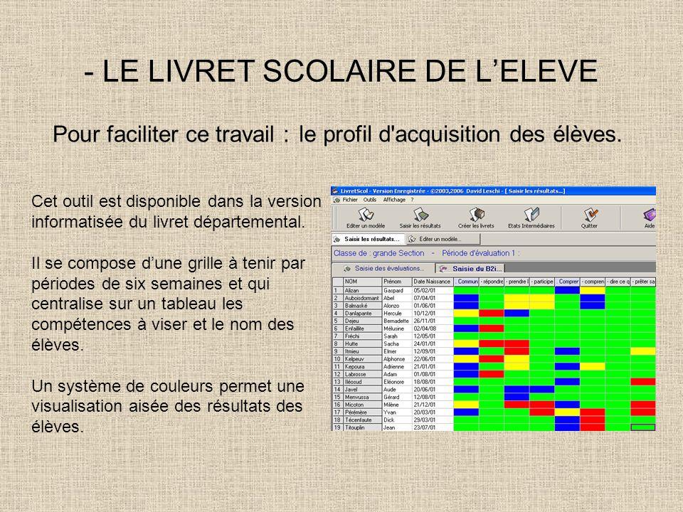 - LE LIVRET SCOLAIRE DE LELEVE Cet outil est disponible dans la version informatisée du livret départemental. Il se compose dune grille à tenir par pé