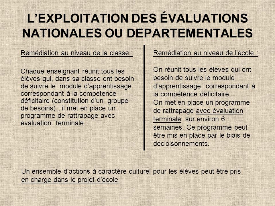 LEXPLOITATION DES ÉVALUATIONS NATIONALES OU DEPARTEMENTALES Remédiation au niveau de la classe : Chaque enseignant réunit tous les élèves qui, dans sa
