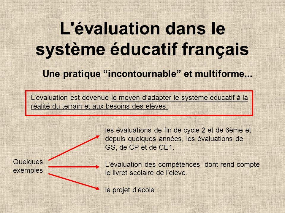 L'évaluation dans le système éducatif français Une pratique incontournable et multiforme... Lévaluation est devenue le moyen dadapter le système éduca