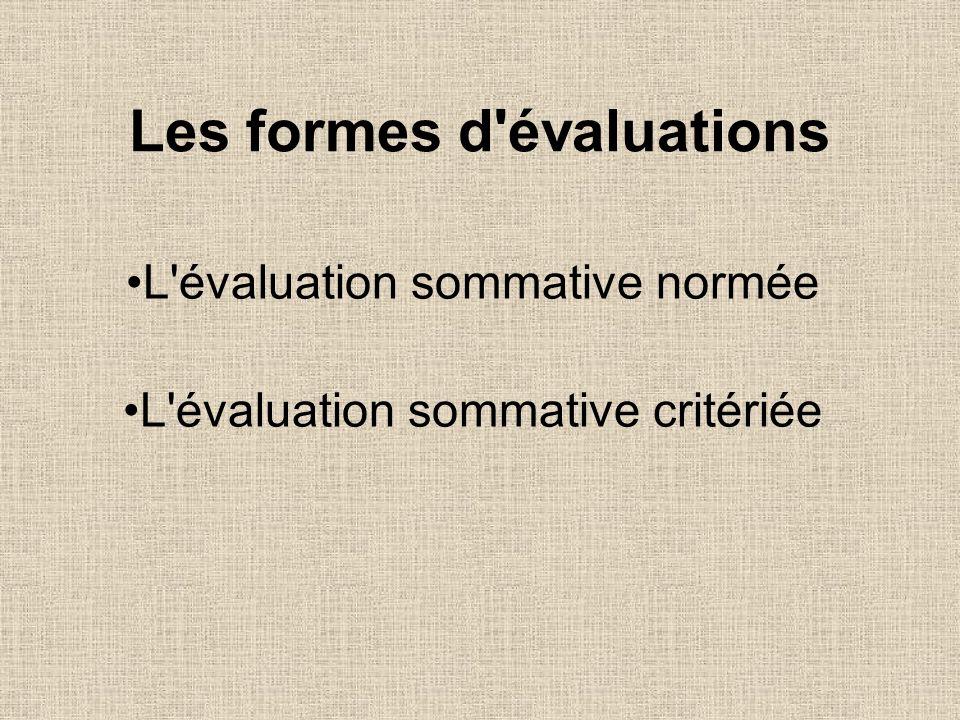 Les formes d'évaluations L'évaluation sommative normée L'évaluation sommative critériée
