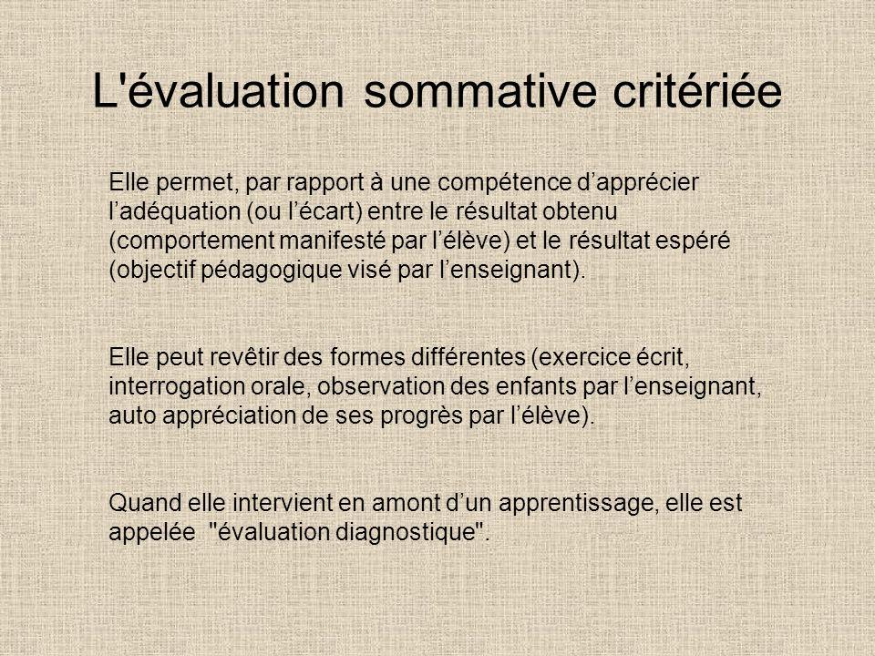 L'évaluation sommative critériée Elle permet, par rapport à une compétence dapprécier ladéquation (ou lécart) entre le résultat obtenu (comportement m