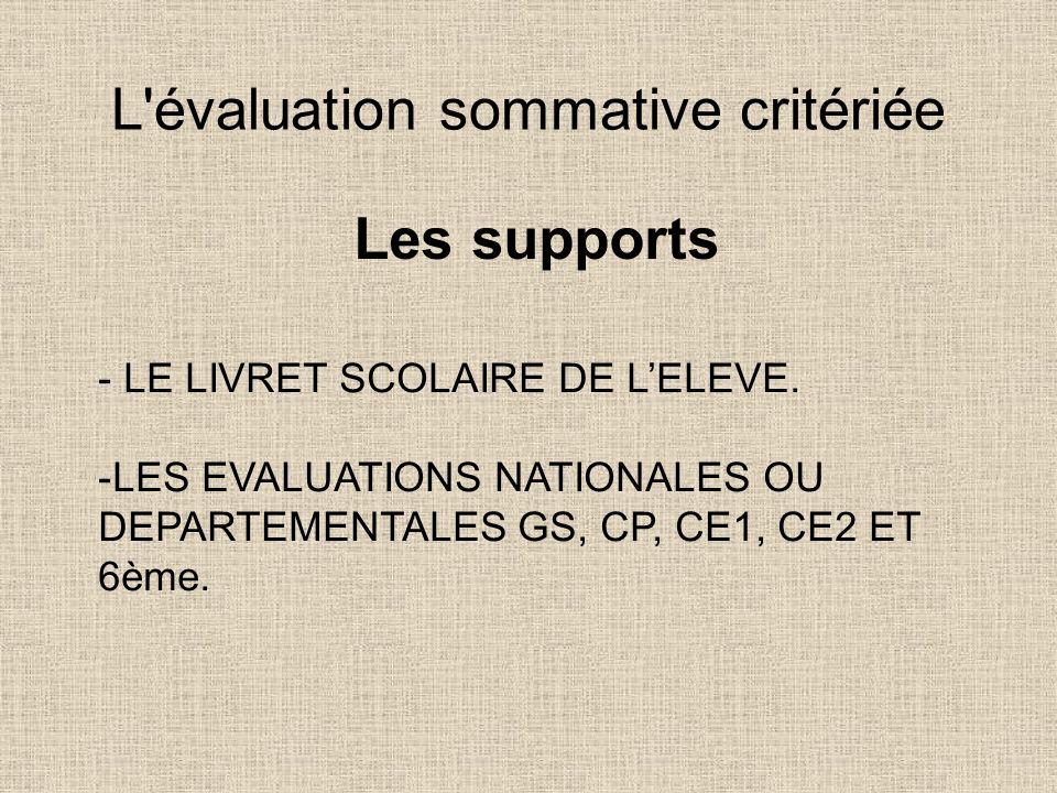 L'évaluation sommative critériée Les supports - LE LIVRET SCOLAIRE DE LELEVE. -LES EVALUATIONS NATIONALES OU DEPARTEMENTALES GS, CP, CE1, CE2 ET 6ème.