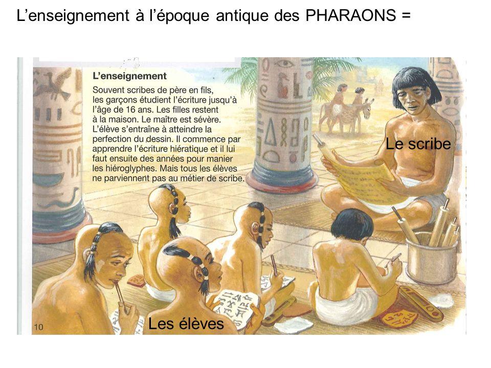 Lenseignement à lépoque antique des PHARAONS = Le scribe Les élèves