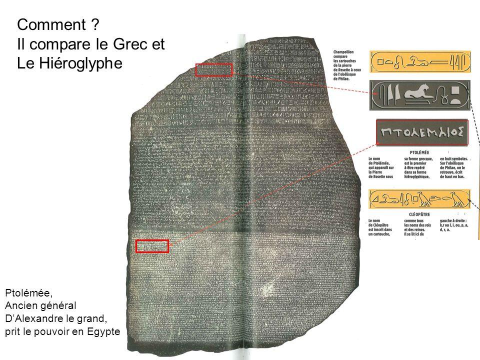 Comment ? Il compare le Grec et Le Hiéroglyphe Ptolémée, Ancien général DAlexandre le grand, prit le pouvoir en Egypte
