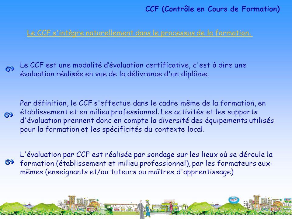 Le CCF est une modalité dévaluation certificative, c'est à dire une évaluation réalisée en vue de la délivrance d'un diplôme. Par définition, le CCF s