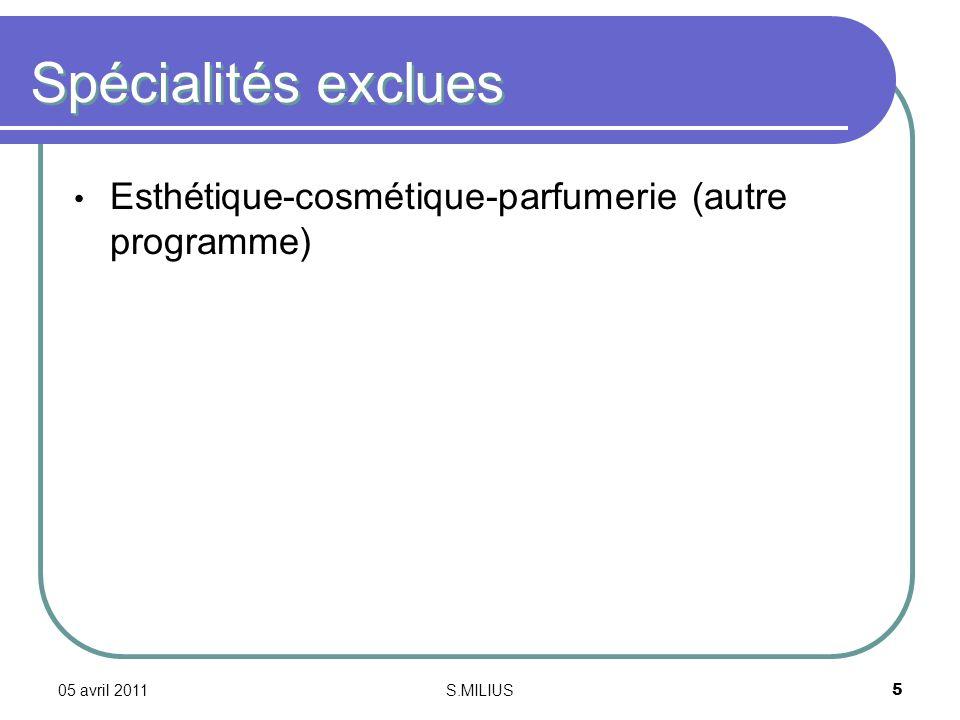 05 avril 2011S.MILIUS5 Spécialités exclues Esthétique-cosmétique-parfumerie (autre programme)