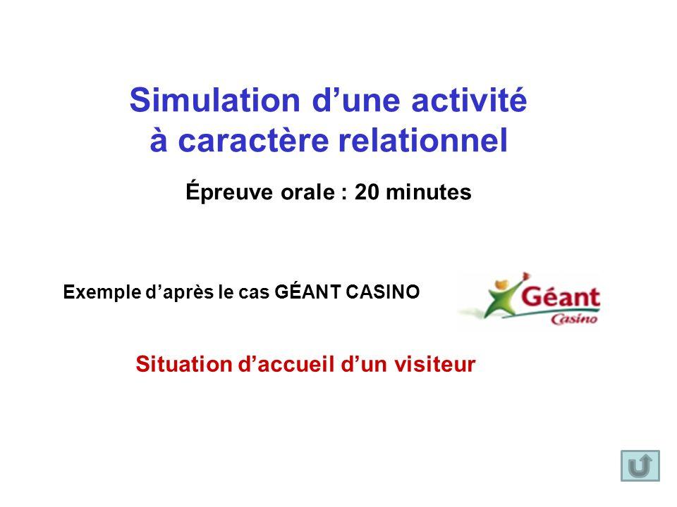 Simulation dune activité à caractère relationnel Épreuve orale : 20 minutes Exemple daprès le cas GÉANT CASINO Situation daccueil dun visiteur