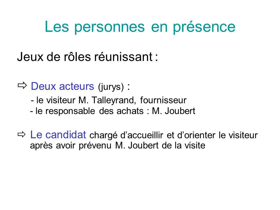 Les personnes en présence Jeux de rôles réunissant : Deux acteurs (jurys) : - le visiteur M. Talleyrand, fournisseur - le responsable des achats : M.