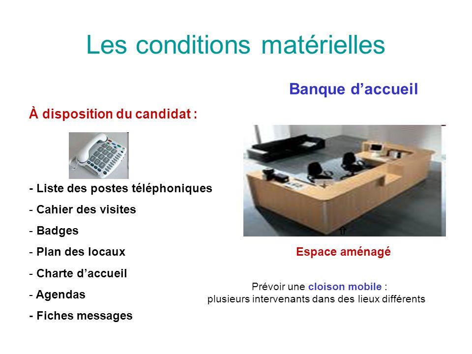 Les conditions matérielles Banque daccueil À disposition du candidat : - Liste des postes téléphoniques - Cahier des visites - Badges - Plan des locau