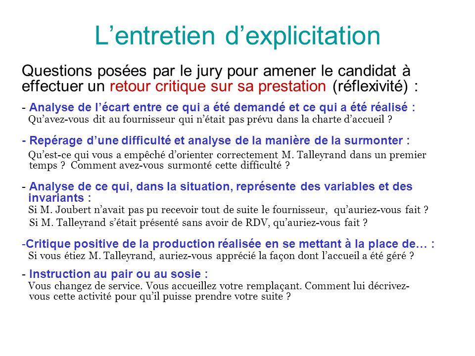Lentretien dexplicitation Questions posées par le jury pour amener le candidat à effectuer un retour critique sur sa prestation (réflexivité) : - Anal