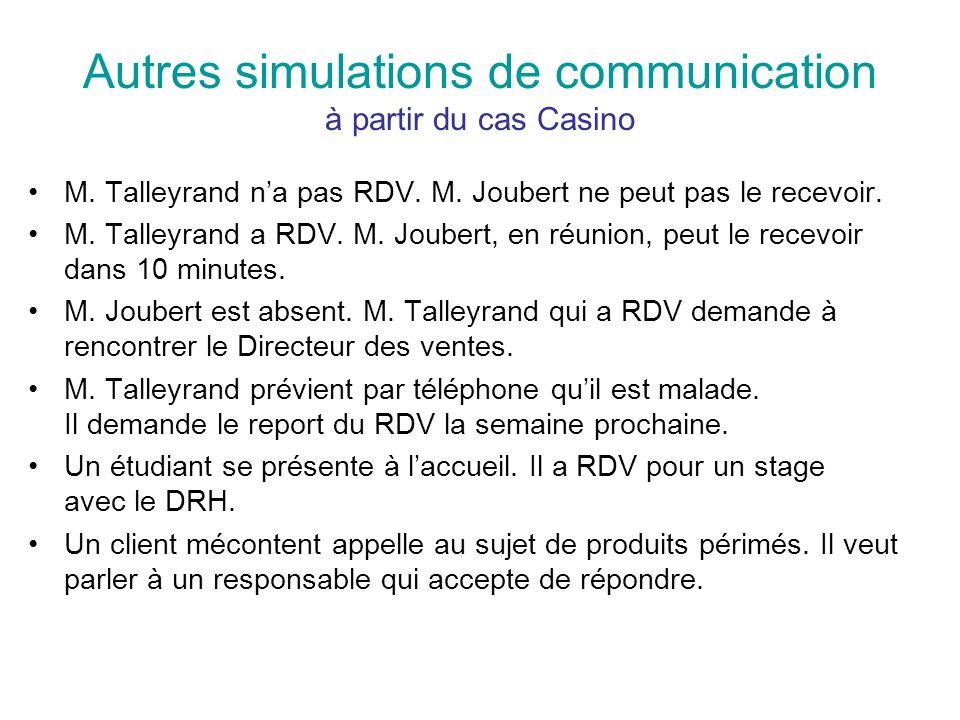 Autres simulations de communication à partir du cas Casino M. Talleyrand na pas RDV. M. Joubert ne peut pas le recevoir. M. Talleyrand a RDV. M. Joube