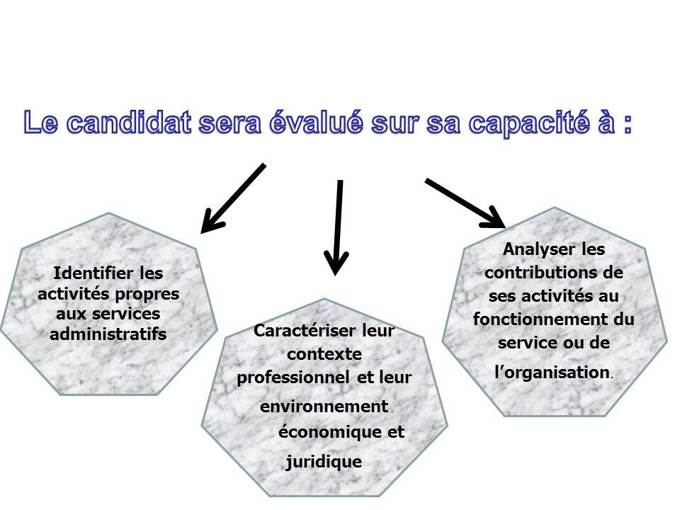 Identifier les activités propres aux services administratifs Caractériser leur contexte professionnel et leur environnement économique et juridique An