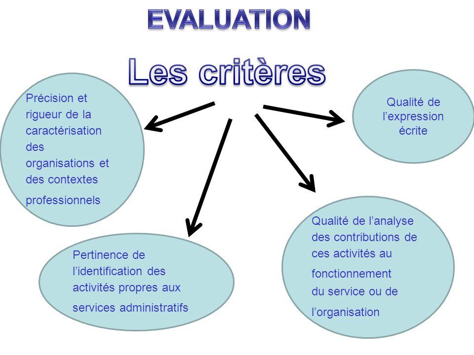 Précision et rigueur de la caractérisation des organisations et des contextes professionnels Pertinence de lidentification des activités propres aux s