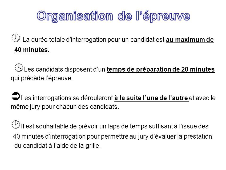La durée totale d'interrogation pour un candidat est au maximum de 40 minutes. Les candidats disposent dun temps de préparation de 20 minutes qui préc