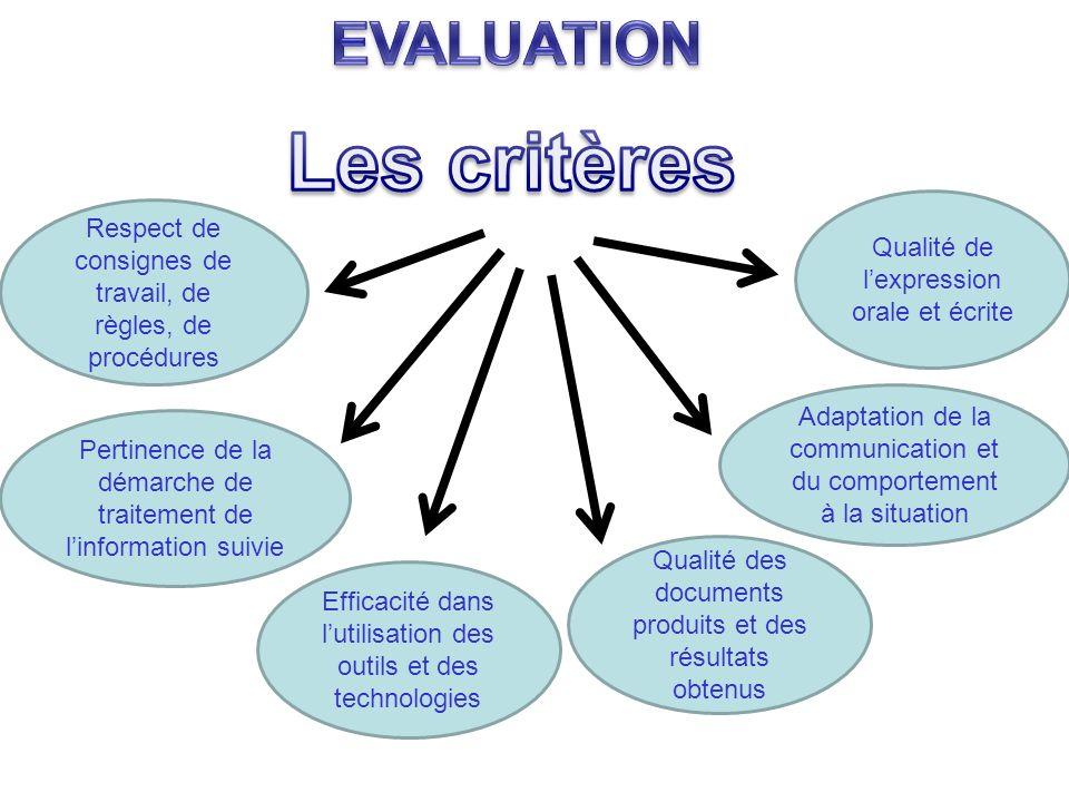Respect de consignes de travail, de règles, de procédures Pertinence de la démarche de traitement de linformation suivie Adaptation de la communicatio