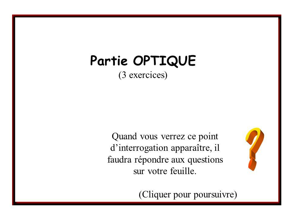 Partie OPTIQUE (3 exercices) Quand vous verrez ce point dinterrogation apparaître, il faudra répondre aux questions sur votre feuille.