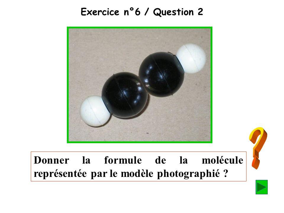 Exercice n°6 / Question 2 Donner la formule de la molécule représentée par le modèle photographié ?