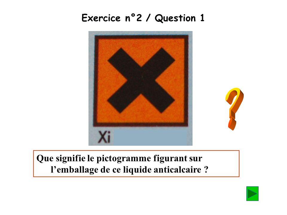 Exercice n°2 / Question 1 Que signifie le pictogramme figurant sur lemballage de ce liquide anticalcaire ?
