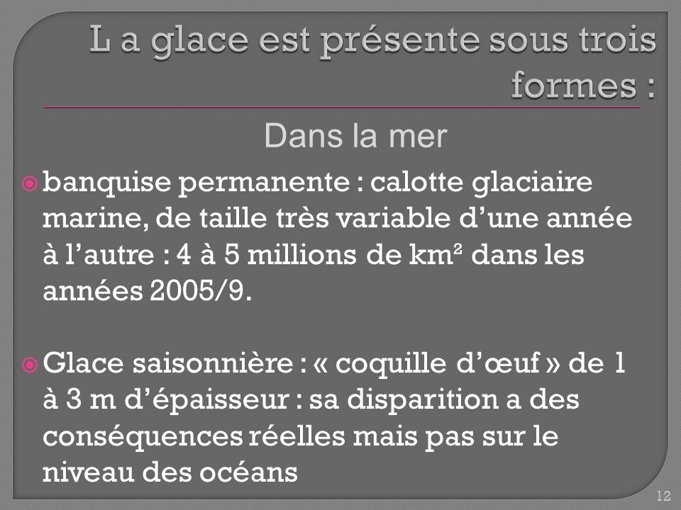 banquise permanente : calotte glaciaire marine, de taille très variable dune année à lautre : 4 à 5 millions de km² dans les années 2005/9.