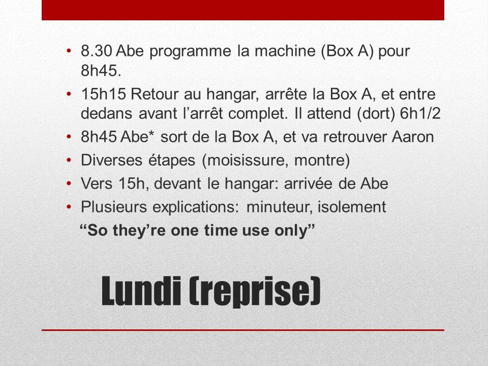 Lundi (reprise) 8.30 Abe programme la machine (Box A) pour 8h45.