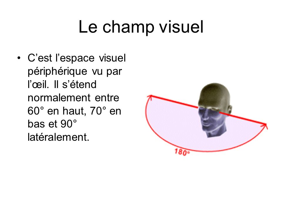 Le champ visuel Cest lespace visuel périphérique vu par lœil. Il sétend normalement entre 60° en haut, 70° en bas et 90° latéralement.