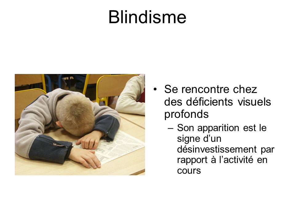 Blindisme Se rencontre chez des déficients visuels profonds –Son apparition est le signe dun désinvestissement par rapport à lactivité en cours
