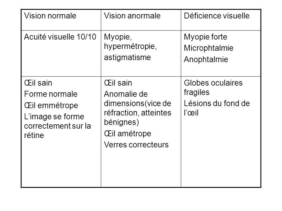 Classifications Catégorie 5Cécité absolueSappuyer totalement sur les autres sens Catégorie 4 AV<1/50 P.L Cécité presque totaleInformations sensorielles, techniques palliatives Catégorie 3 1/20<AV<1/50 Déficience visuelle profonde Incapacités : utilisation des aides et informations sensorielles Catégorie 2 1/10<AV<1/20 Déficience visuelle grave Vision, aides techniques.
