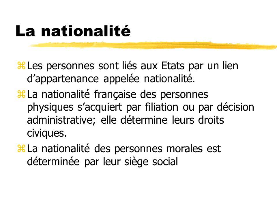 La nationalité zLes personnes sont liés aux Etats par un lien dappartenance appelée nationalité. zLa nationalité française des personnes physiques sac